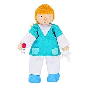 Goki 51615 - Biegepuppe Krankenschwester - Muñecas (Azul, Blanco, Amarillo, Masculino, Niño/niña, 3 año(s), Madera, CE)