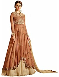 Beige Colour Embroidery Georgette Semi_stitched Anarkali Party-wear-salwar-kameez