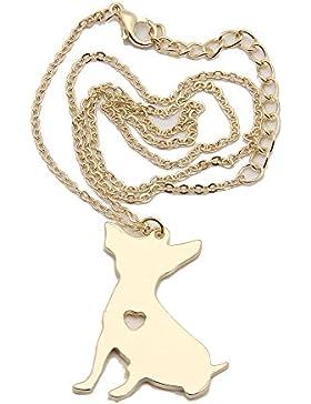 Halskette Chihuahua mit Herz inkl. Isalia Schmucketui