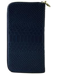 550a5a5444 Portafoglio Per Donna In Vera Pelle Stampa Pitone Colore Blu - Pelletteria  Toscana Made In Italy