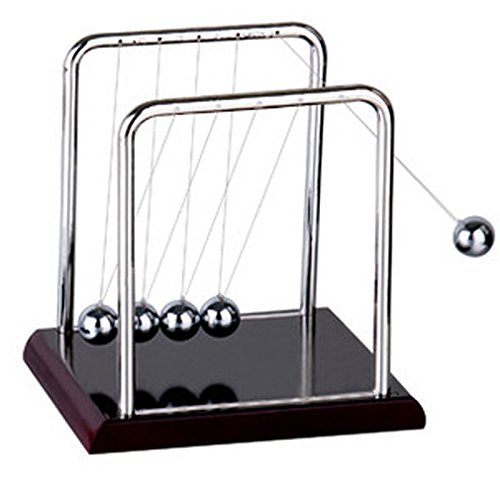 Newtons Cradle Balance Physics Science Pendulum Steel Balls with Wooden Base