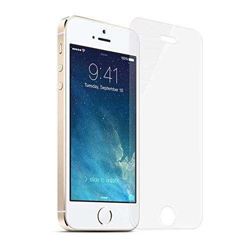 Verre Trempé iPhone 5 5S SE 5C, NEWC® Film Protection en Verre trempé écran Protecteur - ANTI RAYURES - SANS BULLES D'AIR -Ultra Résistant Dureté 9H Glass Screen Protector pour iPhone 5 / 5S / 5C / SE