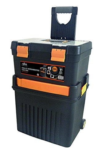 Trolley de herramientas profesional RDM Quality Tools 76908, desmontable, 2 módulos y 5 compartimentos, asa plegable, con ruedas, cierres reforzados. Color negro y naranja.