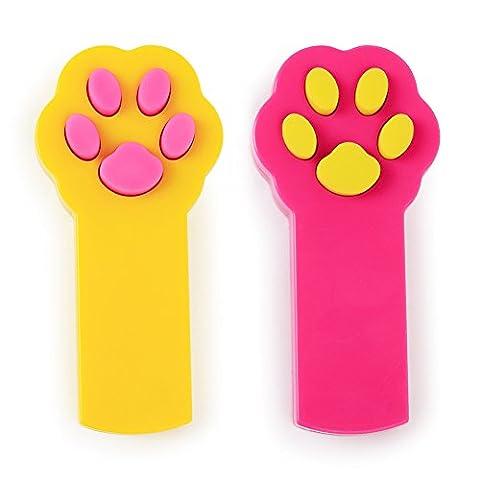 Pipitao pour animal domestique LED Pointeur Interactive lumière Paw Forme arbre à outil d'entraînement Rouge Pot de capture d'exercice Chaser jouet cadeaux pour chiens et chats, Lot de 2(Jaune +