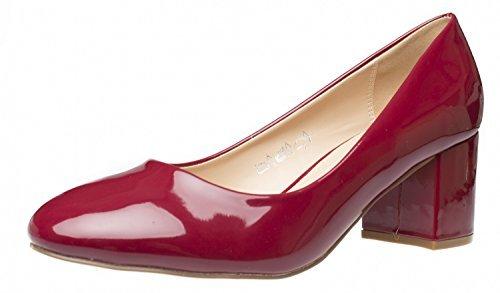Fitters Footwear Damenschuhe Pumps - Sesy in Burgundy Lack - Schuhe in ?Bergr??e - Schuhgr??En 42 bis 45, Schuhgr??e:EUR 42