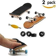 Mini diapasón, Paquete de 2 monopatín profesional de dedo para Tech Deck arce de madera de DIY ensamblaje embarque de embarque de juguete juegos de deportes de regalo de los niños por AumoToo (Negro)