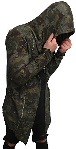 Camouflage Oversize Designer Sweat Jacke Cardigan Hoody Pullover Shirt Herren Hoodie Longsleeve m NEU Kapuzenpullover long Sweatjacke skater hip hop Sweatshirt Pulli longshirt body dope swag deep neck (L, Camouflage³ / full destroyed) (Hip Hoodies Hop)