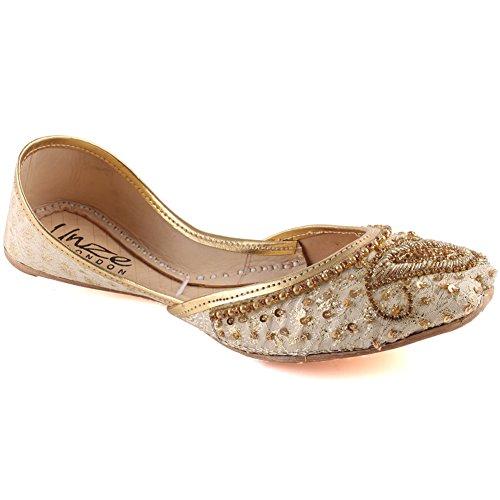 Unze Frauen Ecru Indische Perlen Pailletten Sandale Punjabi Mehndi Slip on Tila Flachbild Khusa UK Größe 3-8 - WS-34