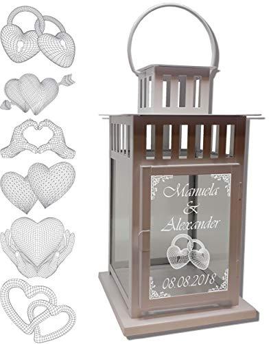 UDIG Hochzeits-Laterne Metall weiß Mod. 4 mit 3D Gravur 28x15,5x15,5 cm