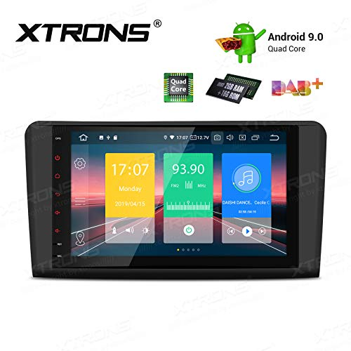 "XTRONS 9"" Android 9.0 Quad Core Autoradio 2GB RAM 16GB ROM mit Touchscreen Multimedia Player Plug und Play Autostereo unterstützt 4G WiFi Bluetooth DAB & OBD2 TPMS FÜR Mercedes-Benz W164"