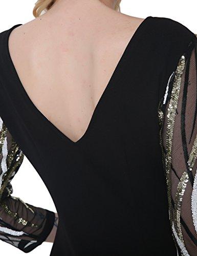 SunIfSnow - Chemise de nuit spécial grossesse - Moulante - À Rayures - Manches 3/4 - Femme Noir