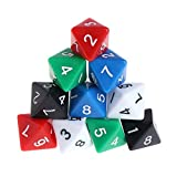 fxco 10pcs 8Sided Acrylic Number Dice Dungeons & Dragons Board Game DND Accessories