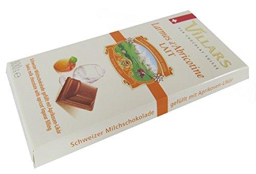 schweizer Villars Schokolade Milchschokolade gefüllt mit Aprikosen Likör 100 g - Aprikosen-likör