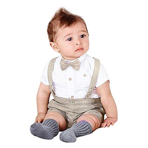 Zarupeng Ropa Recién Nacidos Bebe Summer Gentleman Bowtie camiseta de manga corta + pantalón corto de tirantes Ropa Conjunto 0-3 Años (Gris, 6~12 meses)