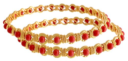 Jfl - Jewellery For Less Red Gold-Plated Bangle Set For Women