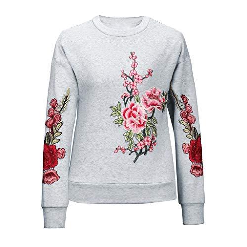 KUDICO Damen Tops Shirt Pullover Rundhalsausschnitt Langarm Stickerei Blume Casual T-Shirt(Grau, EU-42/CN-2XL)