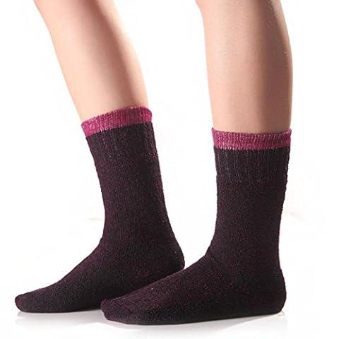 Kolylong Hommes Femmes Unisexe hiver chaussettes en coton (24cm*20cm, Voilet)
