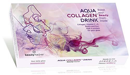 AQUA COLLAGEN DRINK. Marine Kollagen Peptide für die Schönheit der Haut. Hochdosiertes Anti-Aging Hydrolysat. Weniger Falten und Hautstraffung. 28 Beauty Sticks. Box 252g