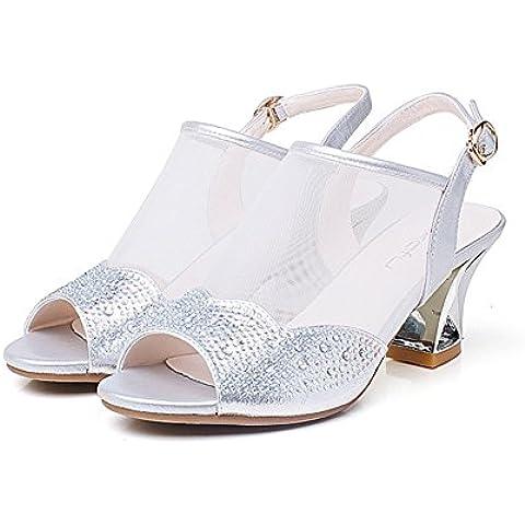 tacchi a spillo sexy estate/Maglia strass con una fibbia cinturino scarpe/ grezzo sandali peep-toe