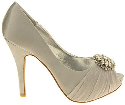 Femme SABATINE Satin diamante cluster nuptiale chaussures de mariage Argent