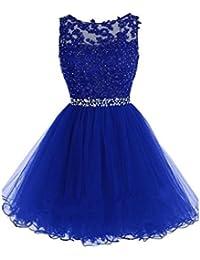Vestido corto de cóctel, para noche, fiesta o baile, de Drasawee Azul azul