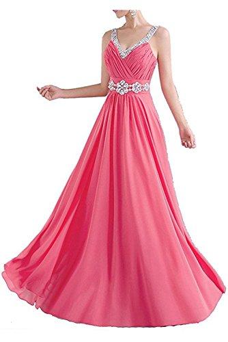 Missdressy Klassisch A-Linie Lang Traeger Chiffon Abendkleider Brautjungfernkleider Wassermelone