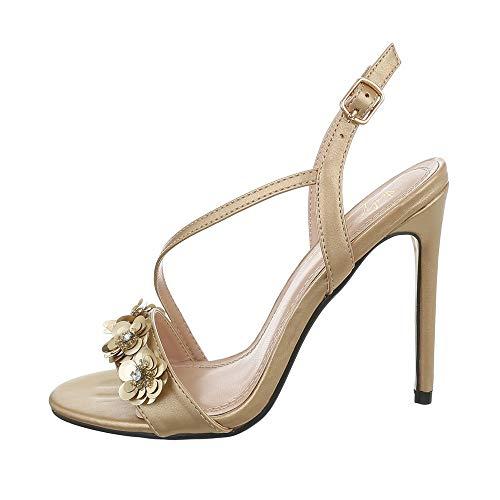 Ital-Design Damenschuhe Sandalen & Sandaletten High Heel Sandaletten Synthetik Gold Gr. 36 Gold Stiletto Heel