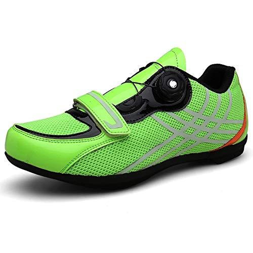 ZMMHW Scarpe da Ciclismo Traspiranti PRO autobloccanti Scarpe da Bici da Corsa Scarpe da Bici da Corsa ultraleggere,Green,EU42
