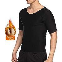 NOVECASA Camisetas Sauna Hombre Neopreno Body Shaper T-Shirt Transpirar para Sudoración Culturismo Quema Grasa Faja Abdome Adelgaza (L, Negro-Negro)