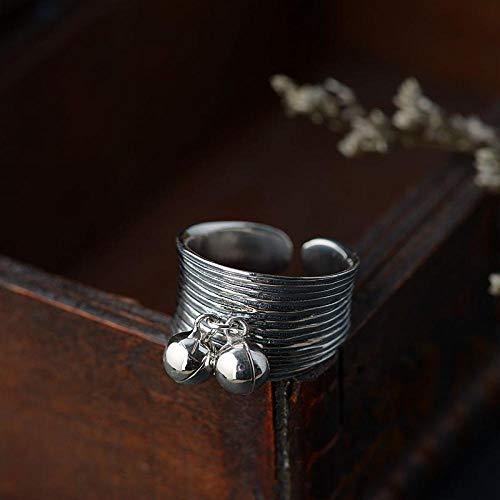 YIYIYYA Women Ring,Einstellbar Mode 925 Sterling Silber Double Ball Breites Gesicht Thai Silber Form Frauen Schmuck Ring Verstellbar Einfache Vintage Freunde Geburtstag Geschenk