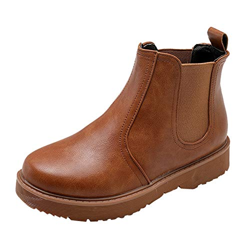 Topgrowth scarpe stivali donna bassi piatte martain boots stivaletti in pelle casual ragazza scarpe rotonde fondo piatto con stivali scarpe