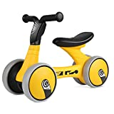 Bamny Baby Balance Bike No Pedal Baby Car Ride on Toy for 1-3 Years Old Children Walker Ages 12-36 Months Durable Toddler Tricycle Infant First Birthday Gift Indoor Outdoor (Yellow-Black)