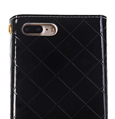 iPhone Case Cover Housse IPhone 7 Plus, surface brillante motif en treillis couleur unie sac en cuir affaire sacoche ( Color : White , Size : IPhone 7 Plus ) Black