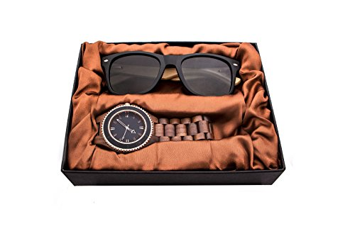 Herrenuhren aus Holz, Kenon Outdoor Wasserdicht Sport Digital Holz Uhr Quarz Big Watch mit Sonnenbrille (Walnut Wood Watch)