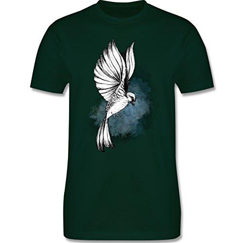 Shirtracer Vögel - Vogel Aquarelle Zeichnung - Herren T-Shirt Rundhals Dunkelgrün
