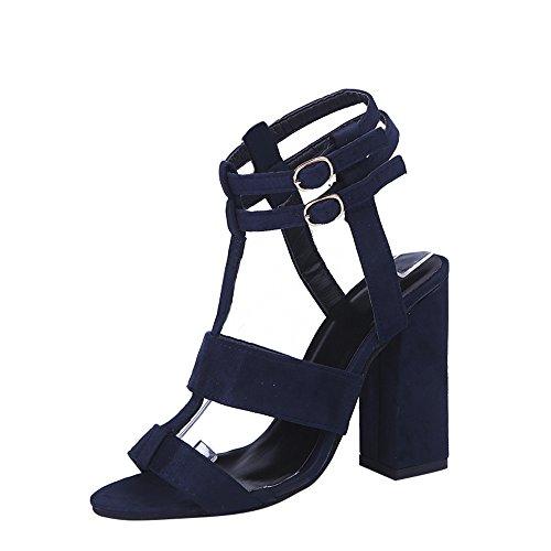 MORETIME Scarpe Economiche,Moda Donna Sandali Caviglia Tacchi Alti Blocco Partito Aperto Toe Scarpe