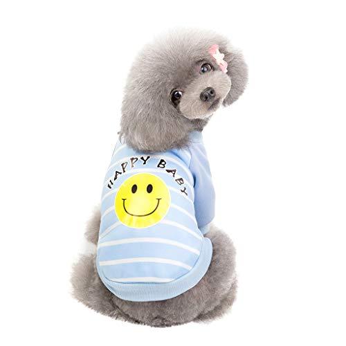 SUGEER Hundemantel Haustier Hund Katze Kleidung Hundepullover Katzenbekleidung Sweatshirt Winter Warm Hundekleidung Lächelndes Gesicht Drucken Hund T-Shirt Weste Hundejacke