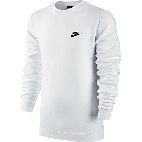 Nike M NSW CRW FLC Club Langarm T-Shirt, Herren Weiß (White / Black)