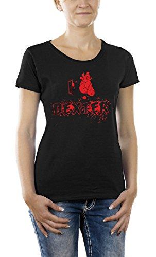 Touchlines I Love Dexter, Camiseta para Mujer, Negro (Black) S