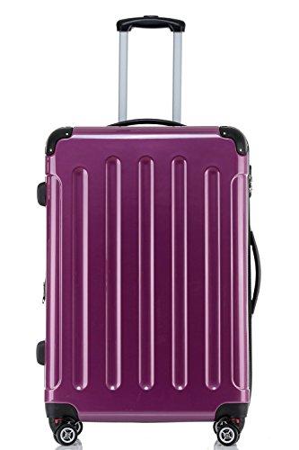 BEIBYE Hartschalen Koffer Trolley Rollkoffer Reisekoffer 4 Zwillingsrollen Polycabonat (Lila, Handgepäck 55cm-40L)