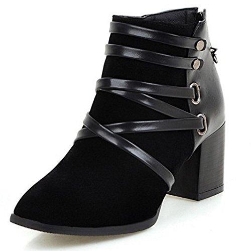 COOLCEPT Damen Mode-Event westlichen Wildleder Blockabsatz Schuhe der spitzen Zehe Reißverschluss Knöchel Stiefel Schwarz