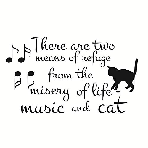 jiushizq Es gibt Zwei Mittel der Zuflucht aus dem Leben Vinyl Wandaufkleber Musik und Katze Hinweis abnehmbare Tapete Pet Shop Decals Home Decor 99 cm x 58 cm (Tupperware 12 Stück)