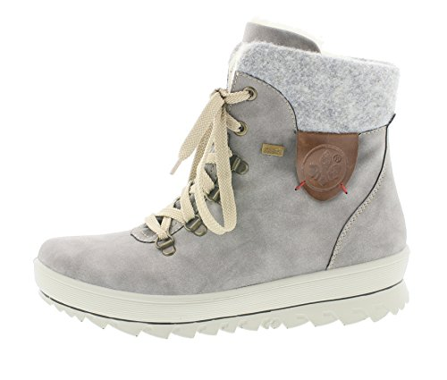 Rieker Damen Winterstiefel Y4331,Frauen Winter-Boots,warm,Tex-Membran,wasserfest,Blockabsatz 3.9cm,wasserdicht,Grey/Fog/Mogano, EU 39