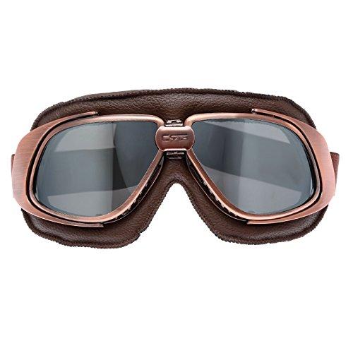 Retro Vintage Sonnenbrille Schutzbrille Pilot Motorrad Sport für Harley - Silber Glas