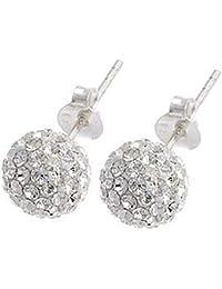 a50cd21141f1 Pendientes 925 plata con transparente bolas de cristal de Swarovski Element  tamaño ...
