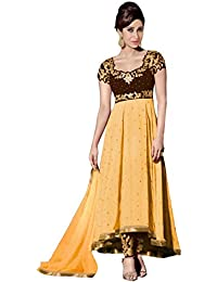 VIHA Women's Embroidered Georgette Unstitched Dress Materials