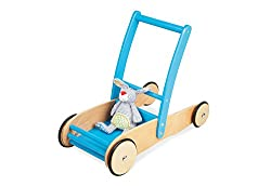 Pinolino walker Uli, made of wood, with brake system, baby walker with rubberized wooden wheels, for children from 1 - 6 years, turquoise