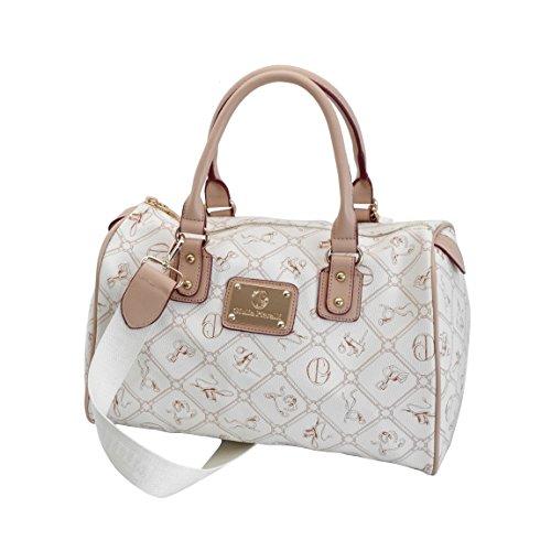 Giulia Pieralli - Damen Glamour Handtasche Damentasche Tasche Henkeltasche Bowling Tasche Umhängetasche - präsentiert von ZMOKAu00ae in versch. Farben (Beige Beige)