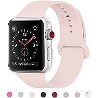 Para Correa Apple Watch 38MM , Suave Silicona iWatch Correa, Para Series 3, Series 2, Series 1, Nike+, Edition, Hermes (Rosa arena, 38MM-SM)