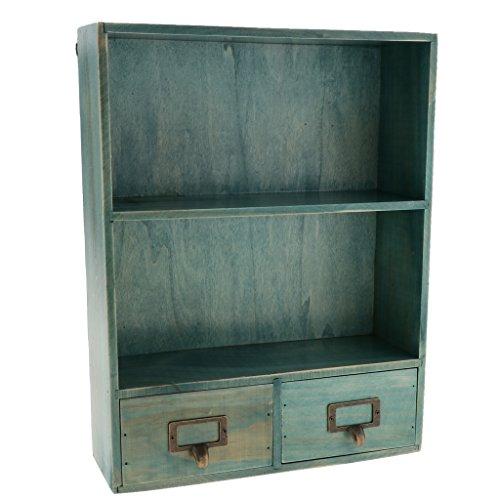 LOVIVER 3 Tier Holz Display Breites Regal Mit 2 Schubladen Tisch Speicherorganisator - Blau - 2 Schubladen Holz-finish Tisch